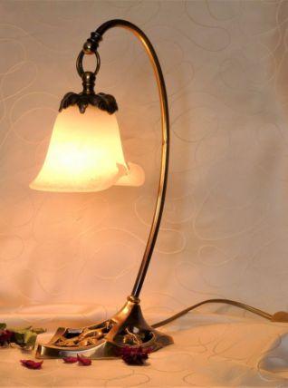 Lampe bronze et pâte de verre / Lampe à poser art déco
