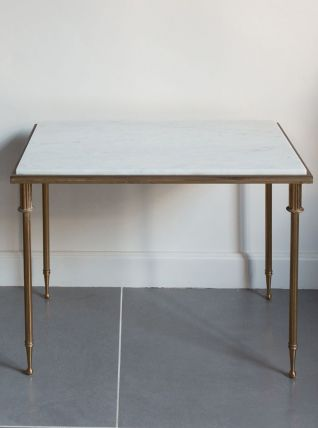 Table d'appoint marbre et laiton