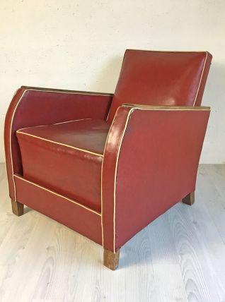 Fauteuil mid-century vintage 50's en skaï rouge
