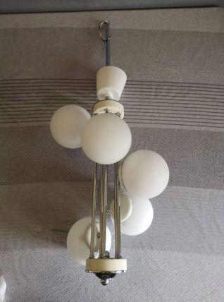 lustre vintage 5 boules en verre opaline blanc années 60
