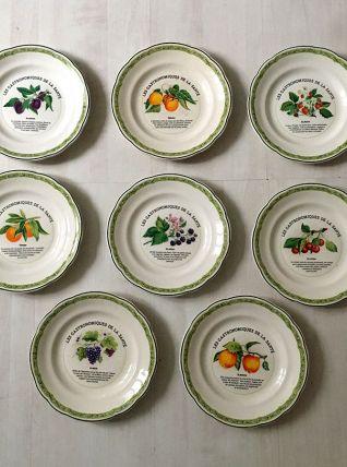 Ensemble de 8 assiettes de Gien vintage 60's
