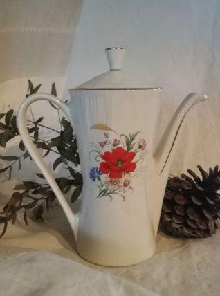 Cafetière coquelicot en semi porcelaine