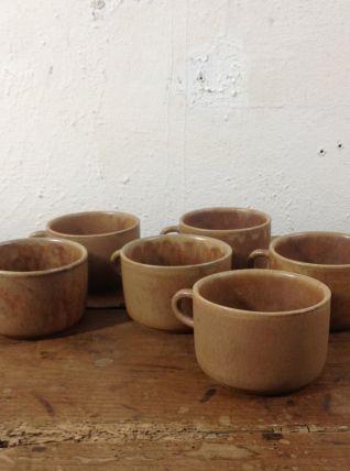 6 tasses à thé en grès - 1970's