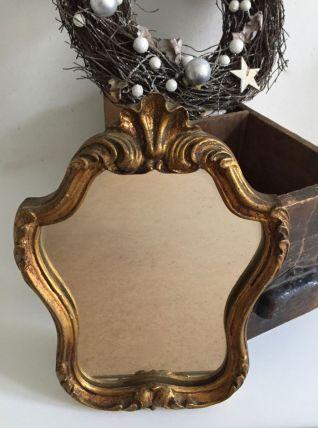 Ancien miroir coquille doré