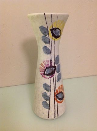 Vase en ceramique gris et decor polychrome style Capron vint