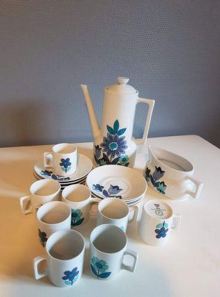 service à café en porcelaine vintage bleuet blanc 18 pièces