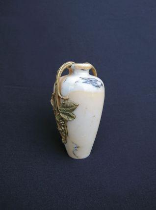 Vase soliflore Art Nouveau - Marbre blanc & bronze