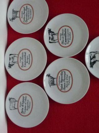 6 assiettes fromages Porcelaine d'Auteuil