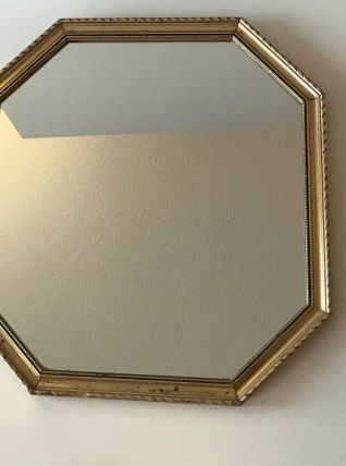 Miroir hexagonal cadre bois doré