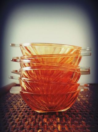 coupelle ramequin HUILOR verre irisé orange