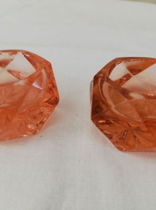 SALERONS/ BOUGEOIRS VERRE ROSE ANCIEN