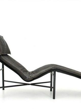 Chaise longue vintage en cuir 1970