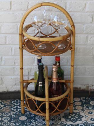Porte-bouteilles en bambou années 1960