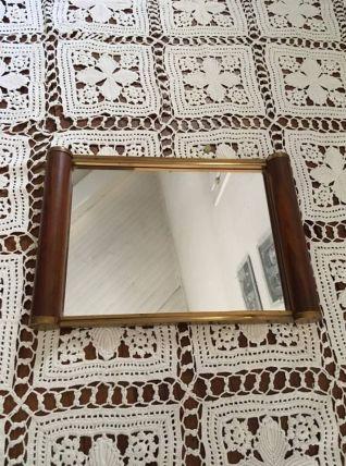 Plateau art déco, miroir bois et fer doré.