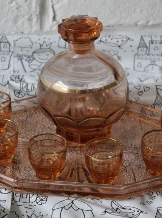 Art déco Service à liqueur en Verre Rose pressé moulé