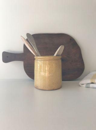Pot ancien en céramique jaune
