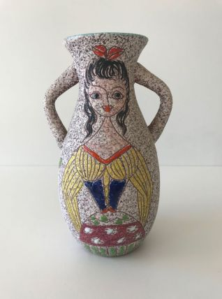Vase en céramique femme signé Italy