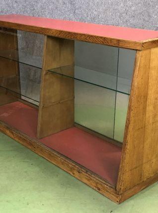 Comptoir vitré de magasin en chêne des années 40