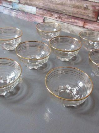8  coupes verre à cocktail année 1950