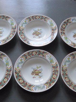 6 assiettes à soupe en porcelaine England Minton 1989
