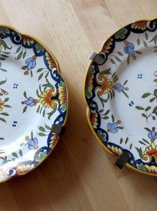 2  assiettes ancienne  en faïence de Boulogne/Mer