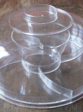 Serviteur multiusage   en plastique transparent années 70/80