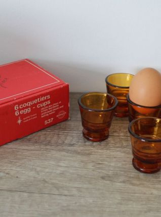Boîte de 6 coquetiers vintage Duralex