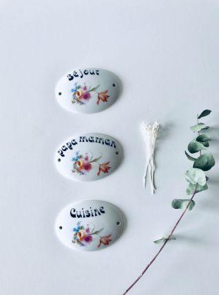 Ensemble de 3 plaques de porte vintage en porcelaine