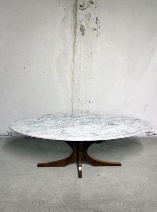 RARE - Table marbre ovale blanche vintage et grise années 60