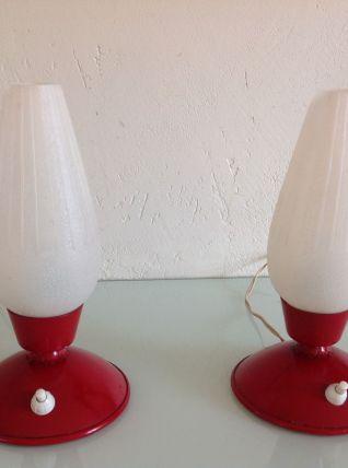 Paire de lampes de chevet forme tulipe vintage années 60