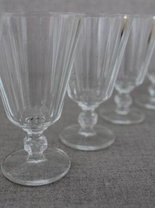 Magnifique lot de 6 verres bistrot anciens à pied début 20èm