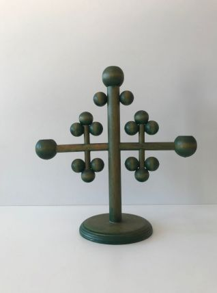 Chandelier vintage finlandais vert en bois