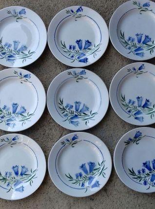 """9 assiettes plates """"bleuets"""""""
