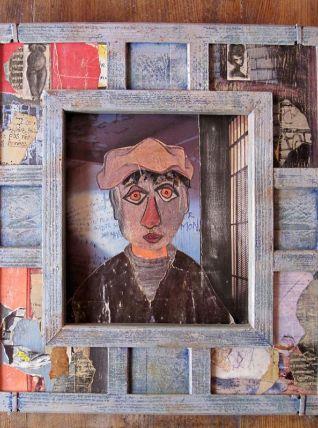 """Œuvre originale d'art brut """"Le prisonnier"""" collage,"""