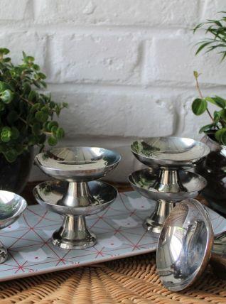 6 coupes à glace en métal vintage