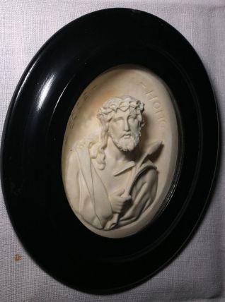 Cadre napoléon III, bois noirci, verre bombé