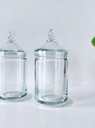 Paire de pots d'apothicaire vintage en verre