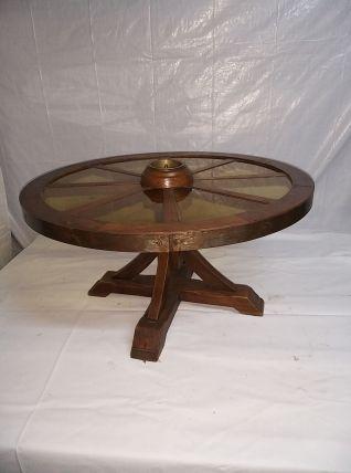 Table basse  rustique en chene et verre