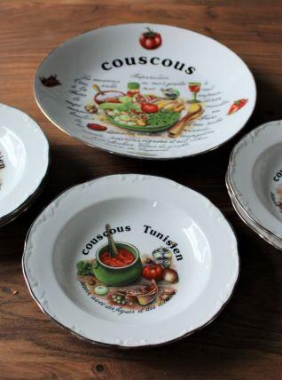 Service à couscous en porcelaine 5 assiettes 1 plat