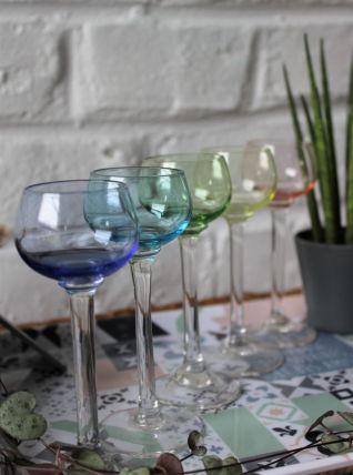 Lot de 5 verres à liqueur anciens en verre soufflé
