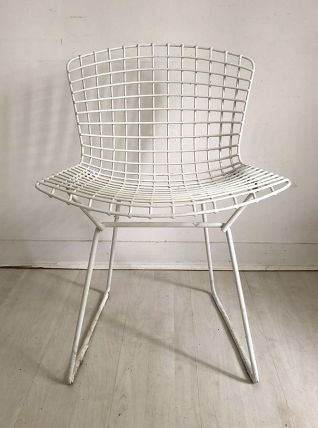 Chaise Harry Bertoia pour Knoll International blanche