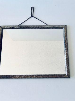 Miroir ancien rectangulaire à suspendre cadrent métal