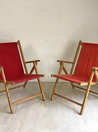 Paire de fauteuils pliants Plidéal vintage 50's