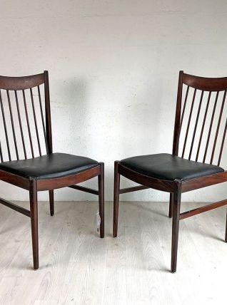 Paire de chaises scandinaves en palissandre