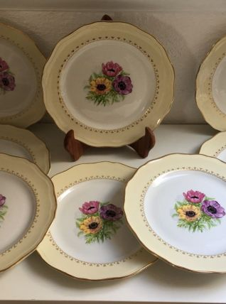 Lot de 8 assiettes plates 60'S à décor floral
