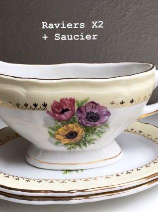 Lot de 2 plats ovales et saucier décor floral