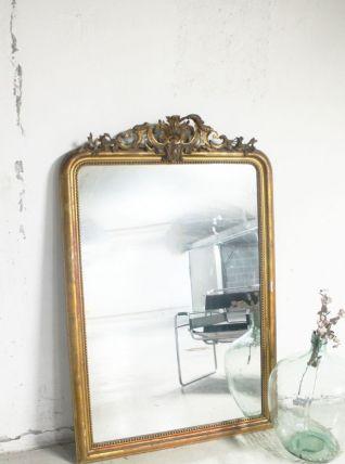 Miroir Louis Philippe à fronton ancien XIXème siècle