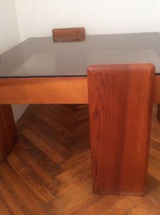 Table basse vintage en bois et verre