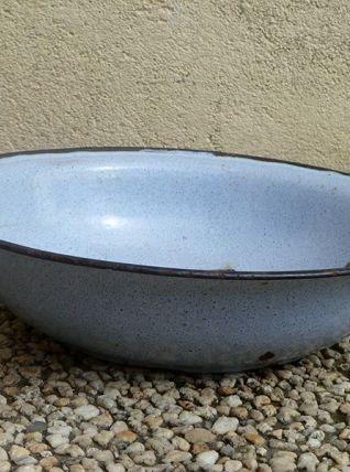 bassine  en  acier  émaillé  ancienne , vintage