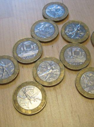 lots de 11 pieces francs .10 de  10 francs .1 de 20 francs